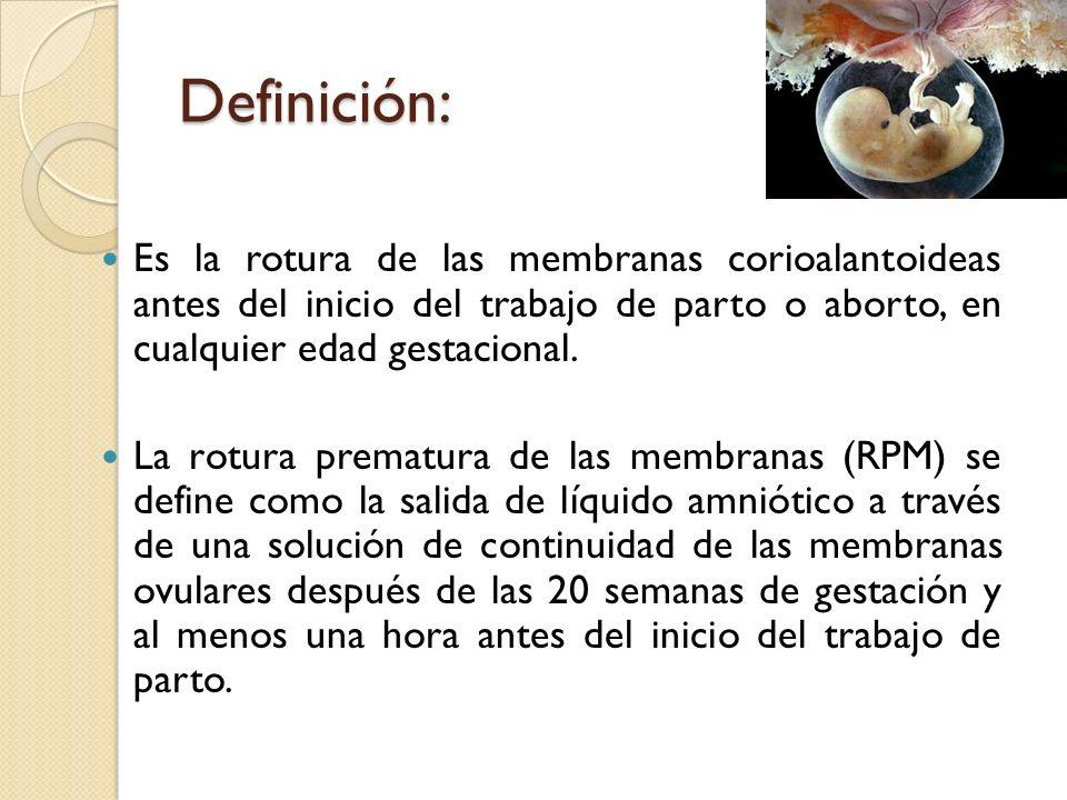 Definición: Es la rotura de las membranas corioalantoideas antes del inicio del trabajo de parto o aborto, en cualquier edad gestacional. La rotura pr