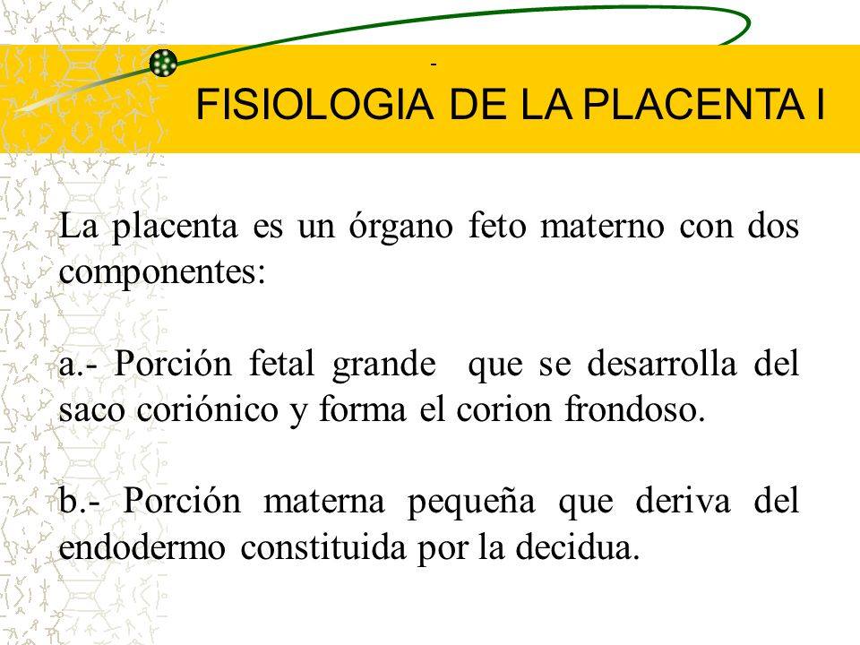 Placenta: se puede definir como cualquier oposición o función intima de órganos fetales con tejidos maternos con fines de intercambio fisiológico. El