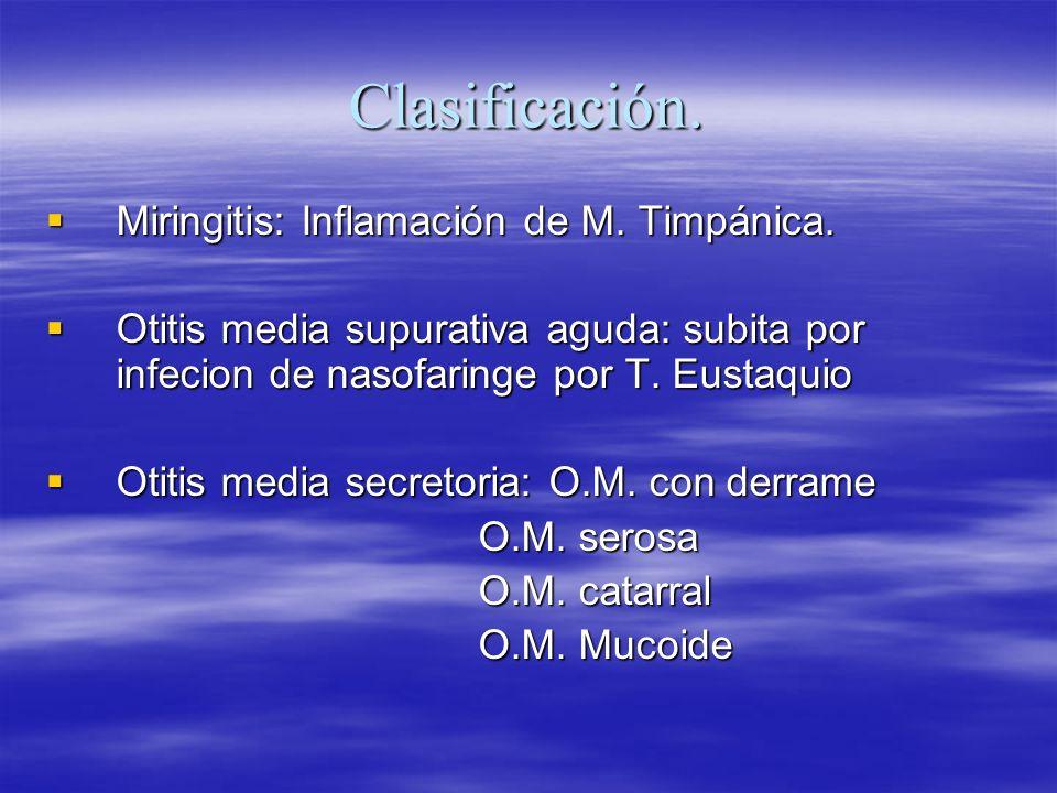 Clasificación. Miringitis: Inflamación de M. Timpánica. Miringitis: Inflamación de M. Timpánica. Otitis media supurativa aguda: subita por infecion de