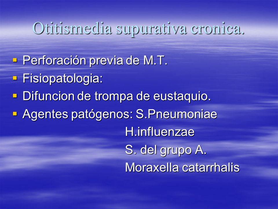 Otitismedia supurativa cronica. Perforación previa de M.T. Perforación previa de M.T. Fisiopatologia: Fisiopatologia: Difuncion de trompa de eustaquio