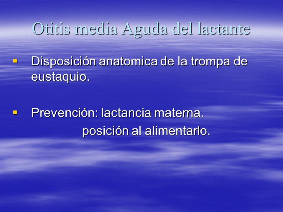Otitis media Aguda del lactante Disposición anatomica de la trompa de eustaquio. Disposición anatomica de la trompa de eustaquio. Prevención: lactanci