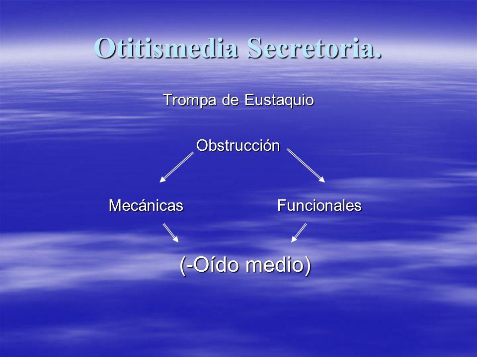 Otitismedia Secretoria. Trompa de Eustaquio Obstrucción Mecánicas Funcionales Mecánicas Funcionales (-Oído medio) (-Oído medio)