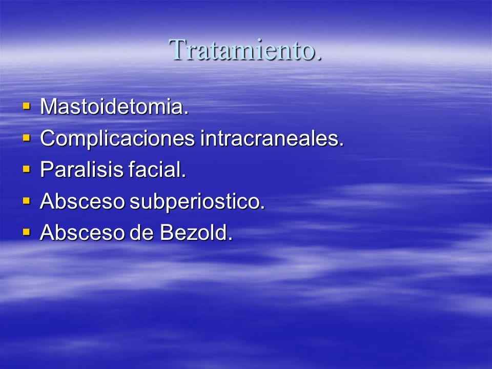 Tratamiento. Mastoidetomia. Mastoidetomia. Complicaciones intracraneales. Complicaciones intracraneales. Paralisis facial. Paralisis facial. Absceso s