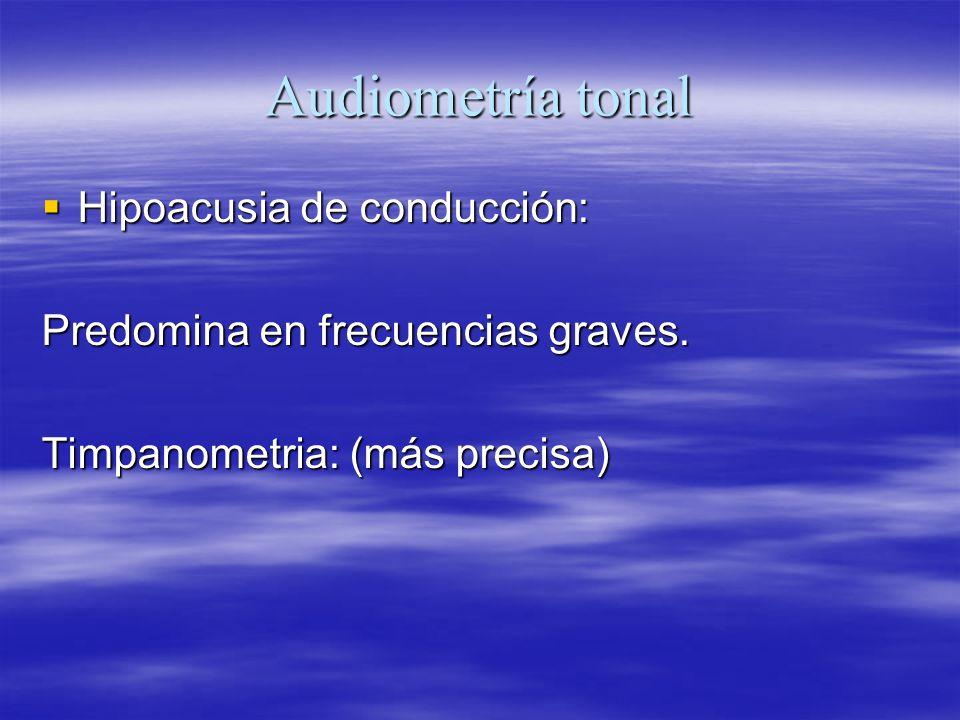 Audiometría tonal Hipoacusia de conducción: Hipoacusia de conducción: Predomina en frecuencias graves. Timpanometria: (más precisa)
