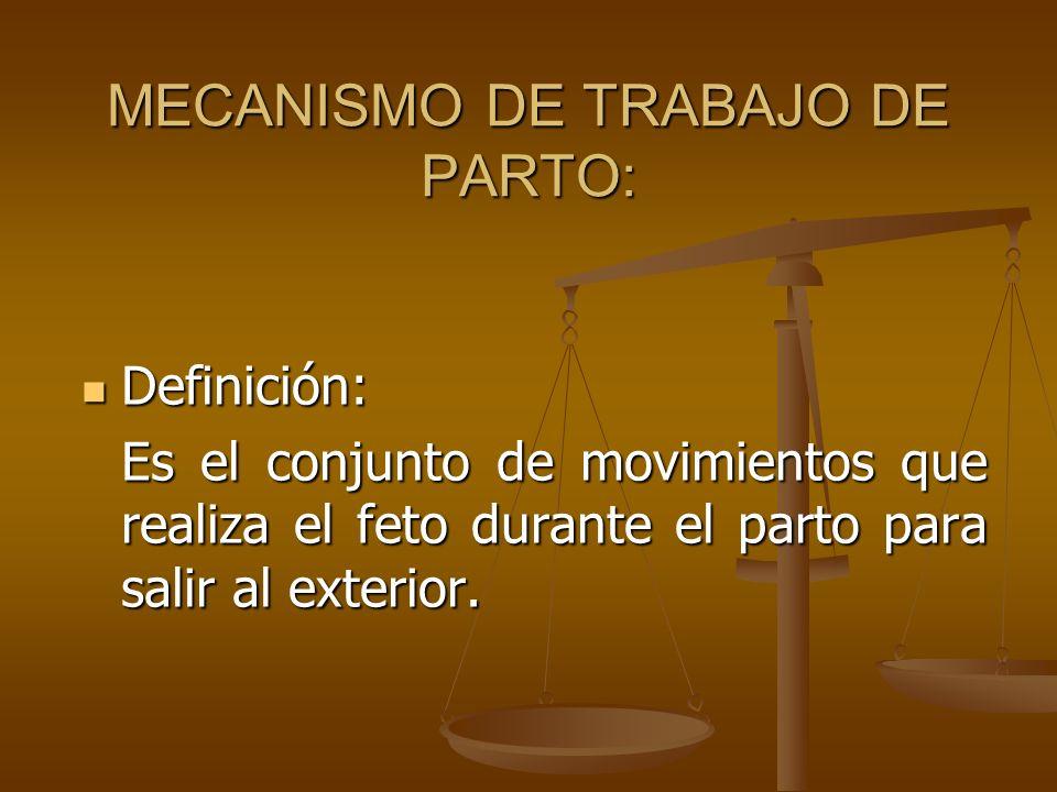 MECANISMO DE TRABAJO DE PARTO: Definición: Definición: Es el conjunto de movimientos que realiza el feto durante el parto para salir al exterior.