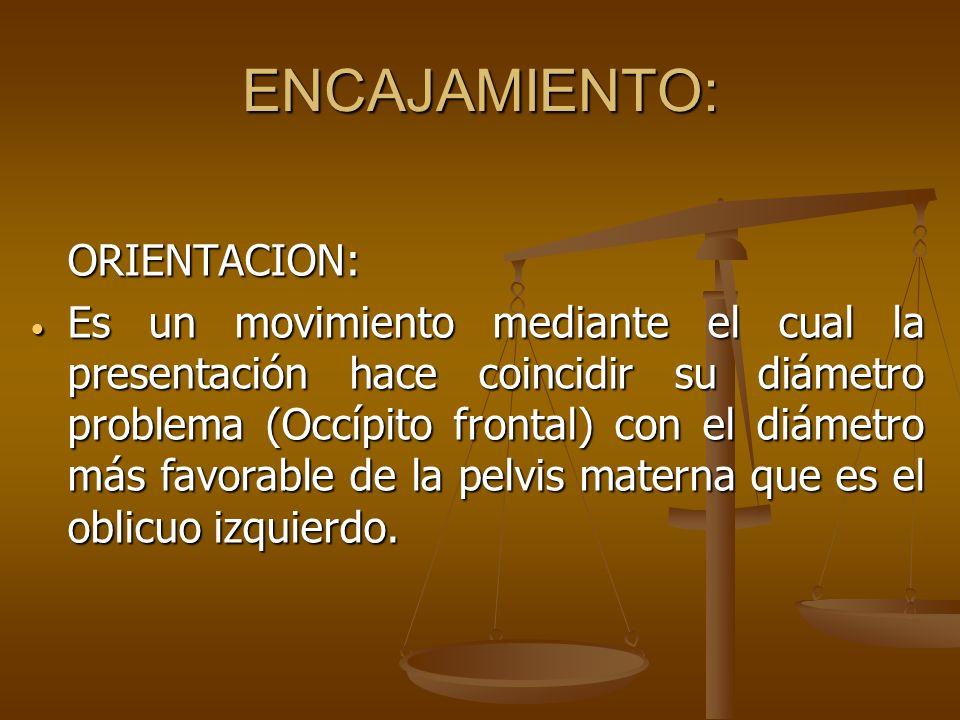 ENCAJAMIENTO: ORIENTACION: Es un movimiento mediante el cual la presentación hace coincidir su diámetro problema (Occípito frontal) con el diámetro má