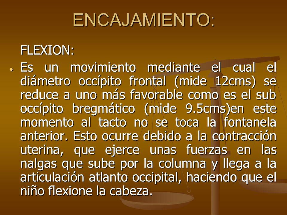 ENCAJAMIENTO: FLEXION: Es un movimiento mediante el cual el diámetro occípito frontal (mide 12cms) se reduce a uno más favorable como es el sub occípi