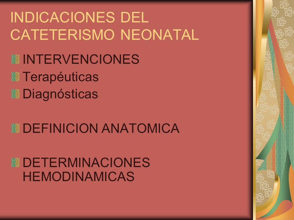 INDICACIONES DEL CATETERISMO NEONATAL INTERVENCIONES Terapéuticas Diagnósticas DEFINICION ANATOMICA DETERMINACIONES HEMODINAMICAS