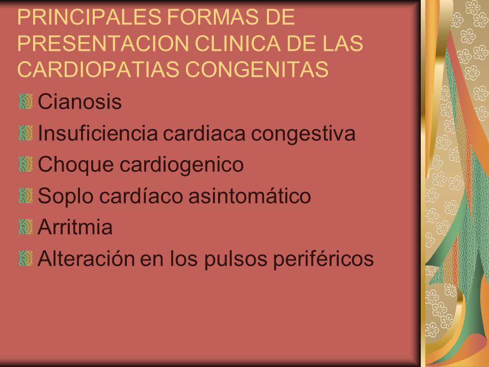 PRINCIPALES FORMAS DE PRESENTACION CLINICA DE LAS CARDIOPATIAS CONGENITAS Cianosis Insuficiencia cardiaca congestiva Choque cardiogenico Soplo cardíac