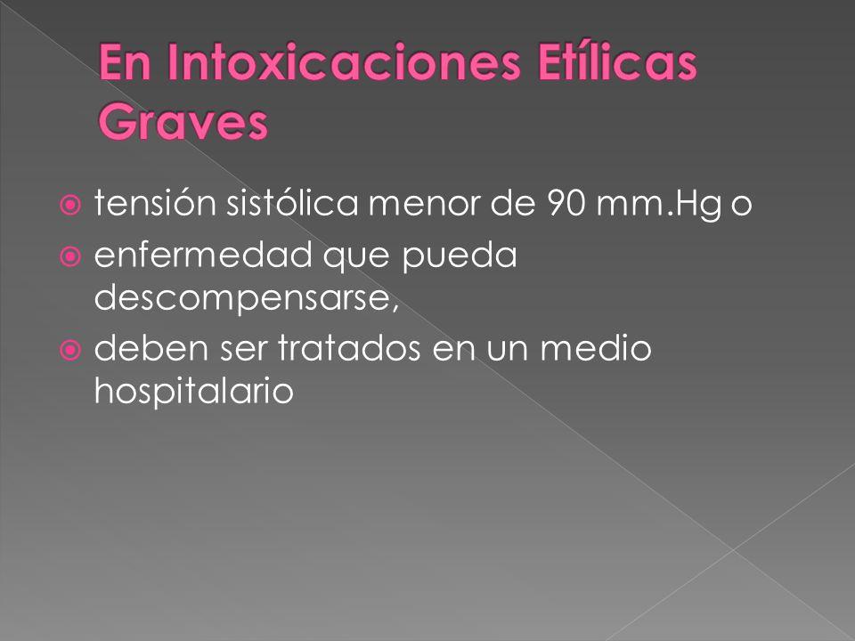 tensión sistólica menor de 90 mm.Hg o enfermedad que pueda descompensarse, deben ser tratados en un medio hospitalario