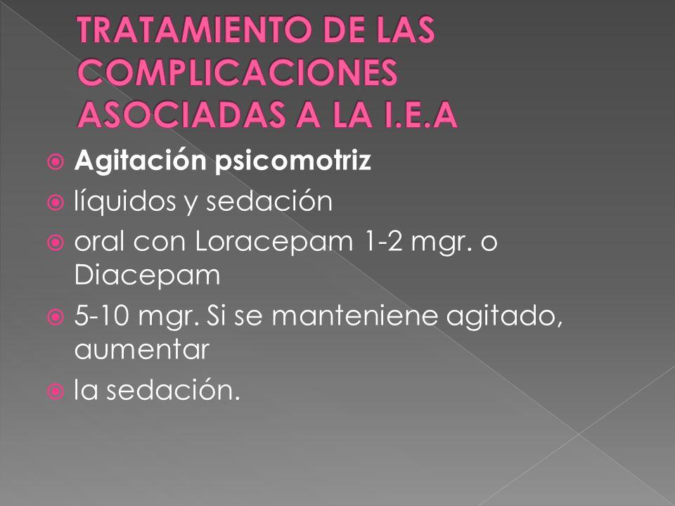 Agitación psicomotriz líquidos y sedación oral con Loracepam 1-2 mgr. o Diacepam 5-10 mgr. Si se manteniene agitado, aumentar la sedación.