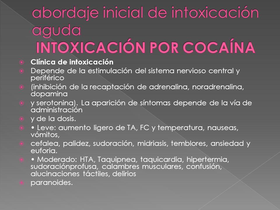 Clínica de intoxicación Depende de la estimulación del sistema nervioso central y periférico (inhibición de la recaptación de adrenalina, noradrenalin