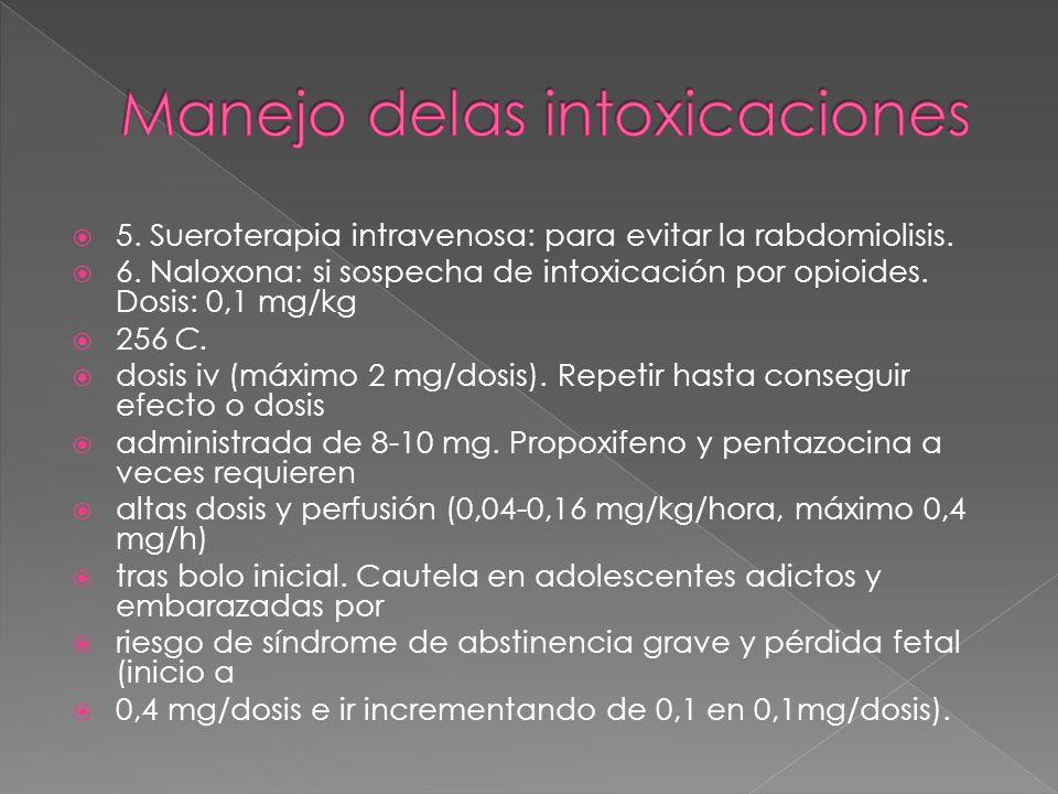 5. Sueroterapia intravenosa: para evitar la rabdomiolisis. 6. Naloxona: si sospecha de intoxicación por opioides. Dosis: 0,1 mg/kg 256 C. dosis iv (má