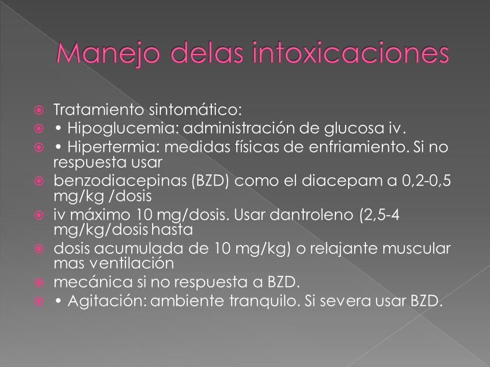 Tratamiento sintomático: Hipoglucemia: administración de glucosa iv. Hipertermia: medidas físicas de enfriamiento. Si no respuesta usar benzodiacepina