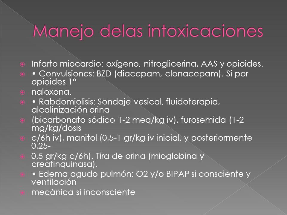 Infarto miocardio: oxígeno, nitroglicerina, AAS y opioides. Convulsiones: BZD (diacepam, clonacepam). Si por opioides 1º naloxona. Rabdomiolisis: Sond