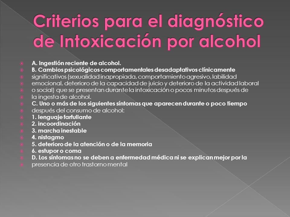 A. Ingestión reciente de alcohol. B. Cambios psicológicos comportamentales desadaptativos clínicamente significativos (sexualidad inapropiada, comport