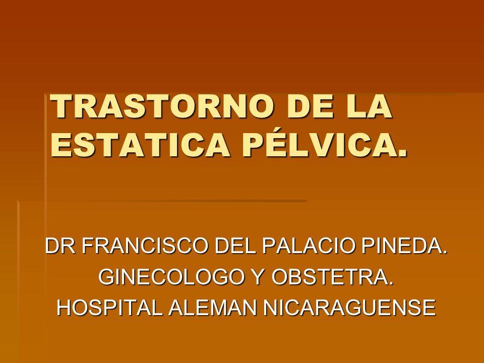 TRASTORNO DE LA ESTATICA PÉLVICA. DR FRANCISCO DEL PALACIO PINEDA. GINECOLOGO Y OBSTETRA. HOSPITAL ALEMAN NICARAGUENSE