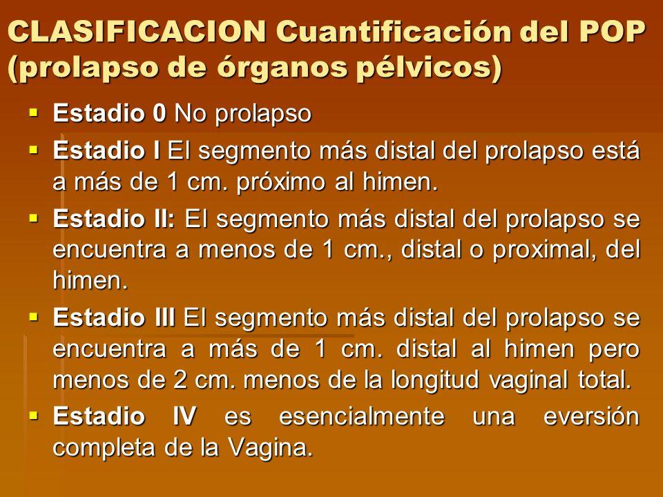 CLASIFICACION Cuantificación del POP (prolapso de órganos pélvicos) Estadio 0 No prolapso Estadio 0 No prolapso Estadio I El segmento más distal del p