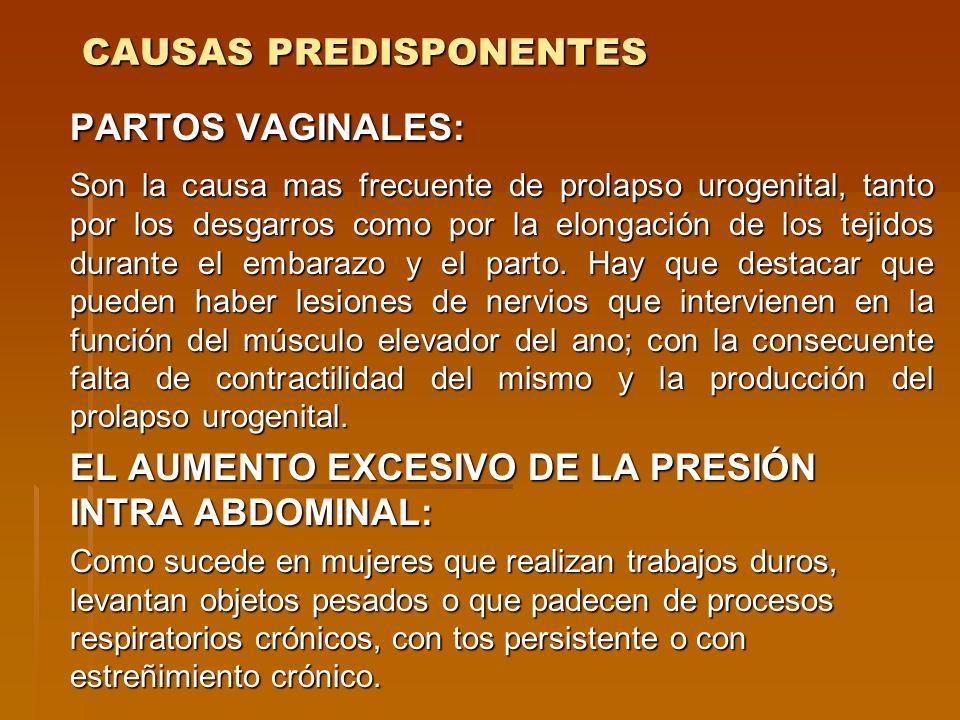 CAUSAS PREDISPONENTES PARTOS VAGINALES: Son la causa mas frecuente de prolapso urogenital, tanto por los desgarros como por la elongación de los tejid
