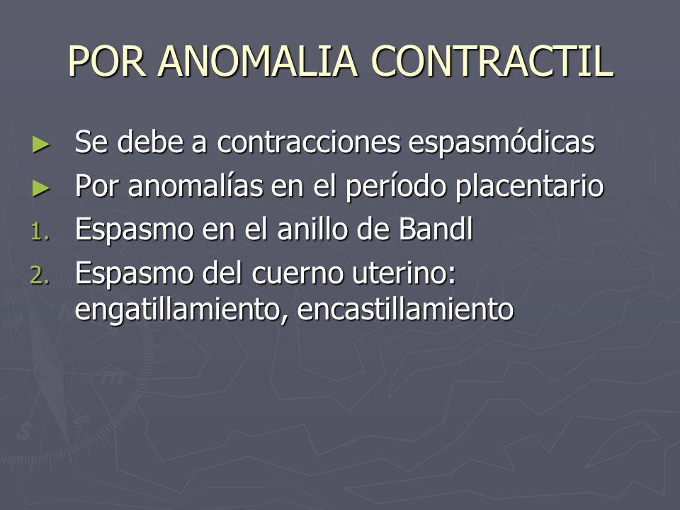 POR ANOMALIA CONTRACTIL Se debe a contracciones espasmódicas Se debe a contracciones espasmódicas Por anomalías en el período placentario Por anomalía