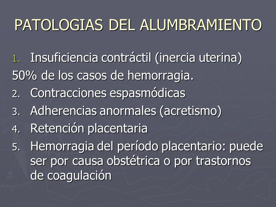 PATOLOGIAS DEL ALUMBRAMIENTO 1. Insuficiencia contráctil (inercia uterina) 50% de los casos de hemorragia. 2. Contracciones espasmódicas 3. Adherencia