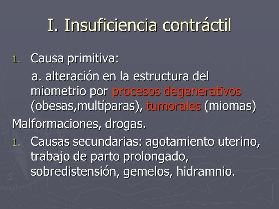 I. Insuficiencia contráctil 1. Causa primitiva: a. alteración en la estructura del miometrio por procesos degenerativos (obesas,multíparas), tumorales