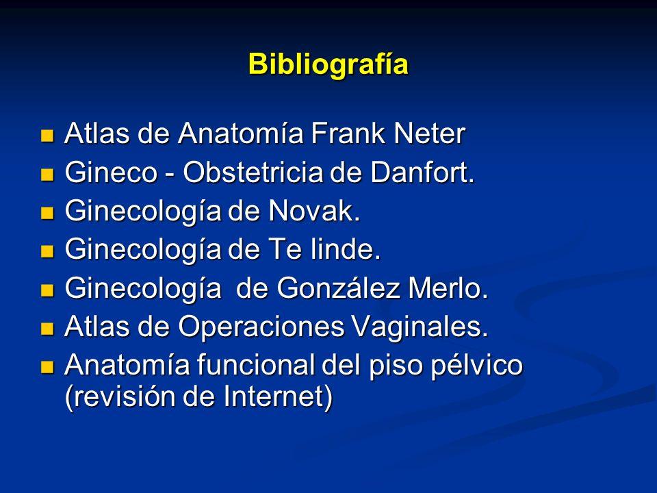 Bibliografía Atlas de Anatomía Frank Neter Atlas de Anatomía Frank Neter Gineco - Obstetricia de Danfort. Gineco - Obstetricia de Danfort. Ginecología