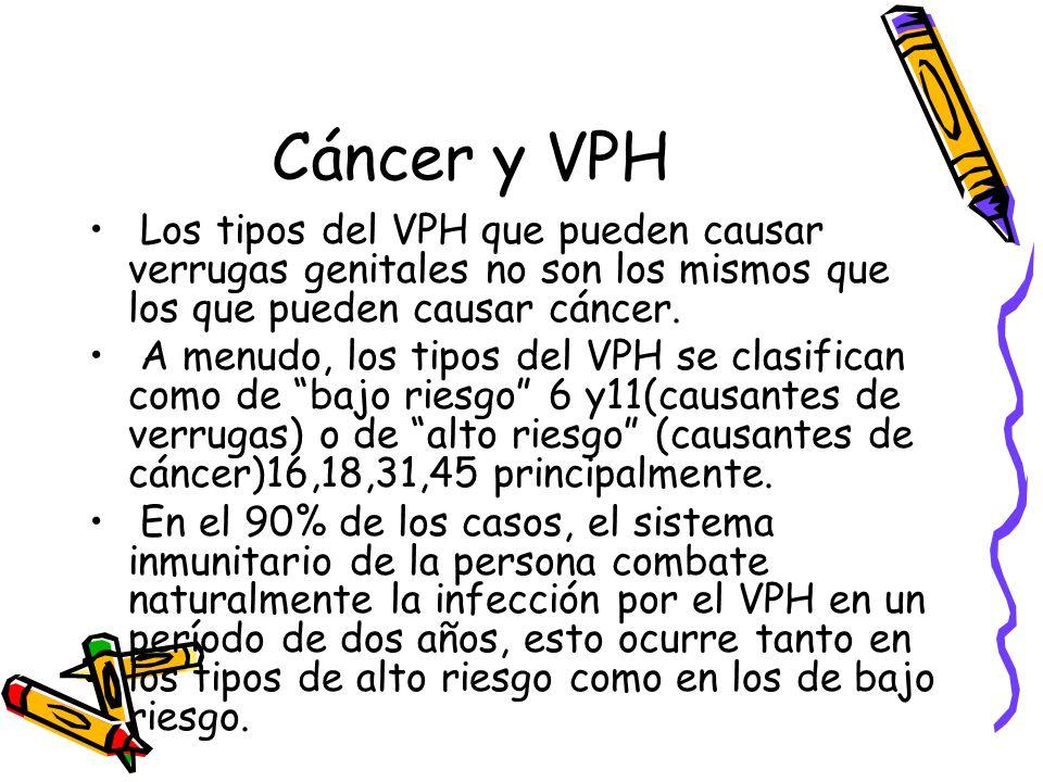 Cáncer y VPH Los tipos del VPH que pueden causar verrugas genitales no son los mismos que los que pueden causar cáncer. A menudo, los tipos del VPH se