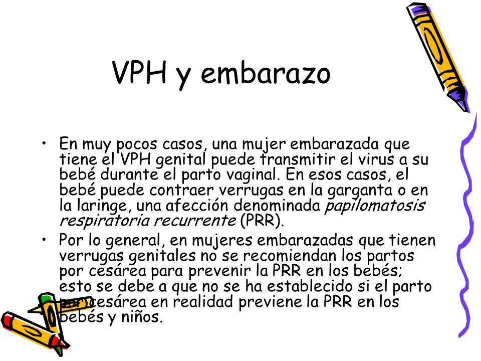 VPH y embarazo En muy pocos casos, una mujer embarazada que tiene el VPH genital puede transmitir el virus a su bebé durante el parto vaginal. En esos