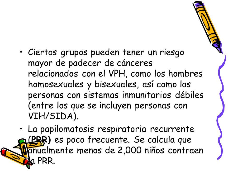 Ciertos grupos pueden tener un riesgo mayor de padecer de cánceres relacionados con el VPH, como los hombres homosexuales y bisexuales, así como las p