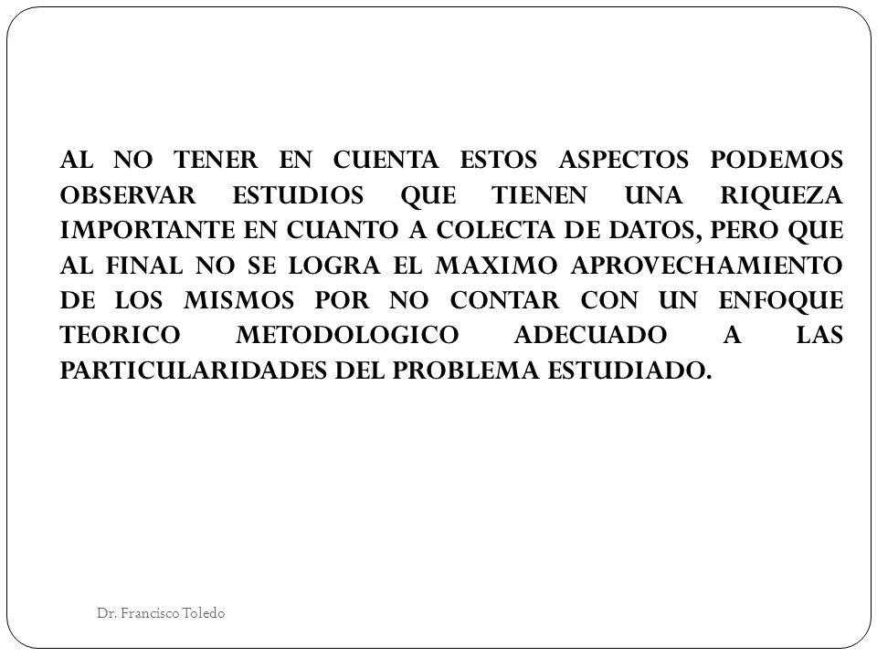 Dr. Francisco Toledo AL NO TENER EN CUENTA ESTOS ASPECTOS PODEMOS OBSERVAR ESTUDIOS QUE TIENEN UNA RIQUEZA IMPORTANTE EN CUANTO A COLECTA DE DATOS, PE