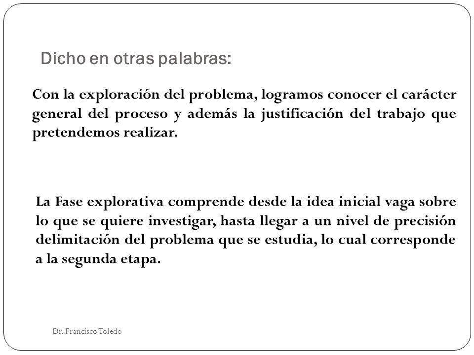 Dicho en otras palabras: Dr. Francisco Toledo Con la exploración del problema, logramos conocer el carácter general del proceso y además la justificac