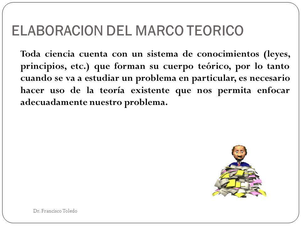 ELABORACION DEL MARCO TEORICO Dr. Francisco Toledo Toda ciencia cuenta con un sistema de conocimientos (leyes, principios, etc.) que forman su cuerpo