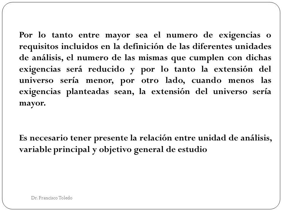 Dr. Francisco Toledo Por lo tanto entre mayor sea el numero de exigencias o requisitos incluidos en la definición de las diferentes unidades de anális
