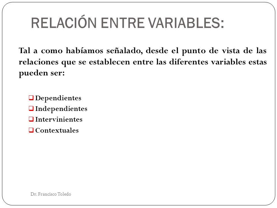 RELACIÓN ENTRE VARIABLES: Dr. Francisco Toledo Tal a como habíamos señalado, desde el punto de vista de las relaciones que se establecen entre las dif