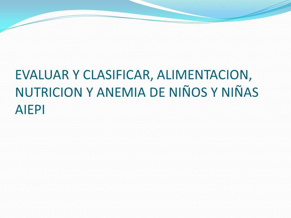 EVALUAR Y CLASIFICAR, ALIMENTACION, NUTRICION Y ANEMIA DE NIÑOS Y NIÑAS AIEPI