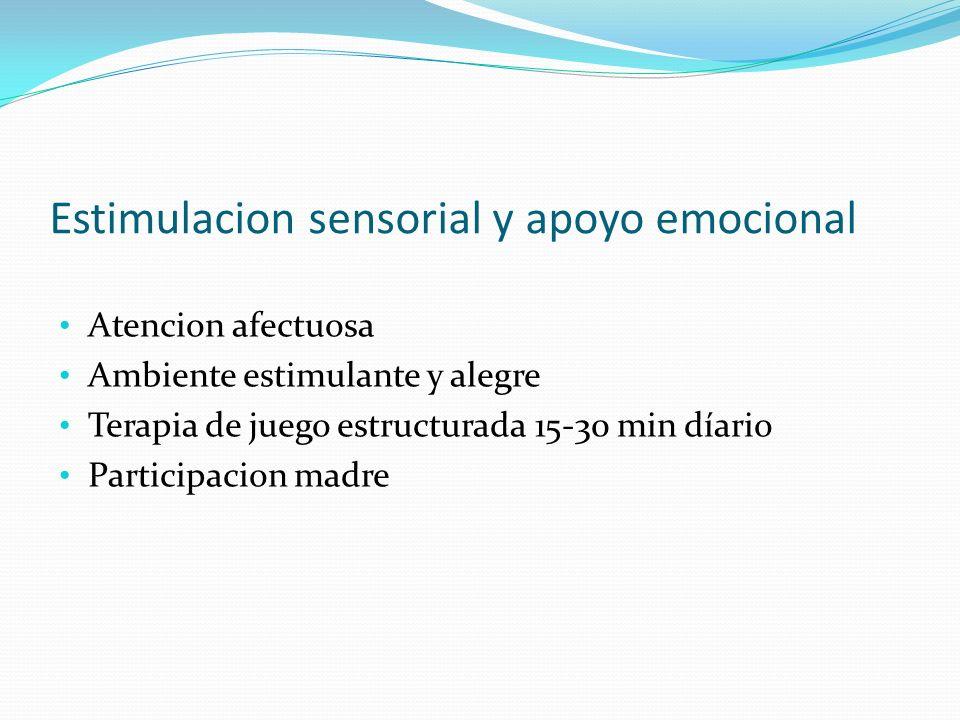 Estimulacion sensorial y apoyo emocional Atencion afectuosa Ambiente estimulante y alegre Terapia de juego estructurada 15-30 min díario Participacion