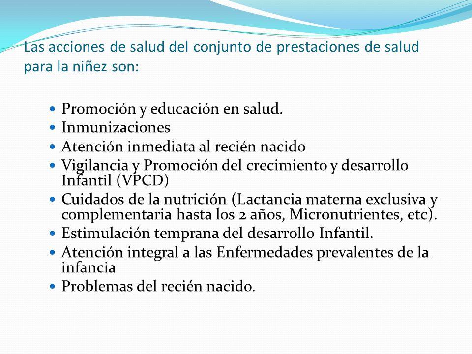 Las acciones de salud del conjunto de prestaciones de salud para la niñez son: Promoción y educación en salud. Inmunizaciones Atención inmediata al re