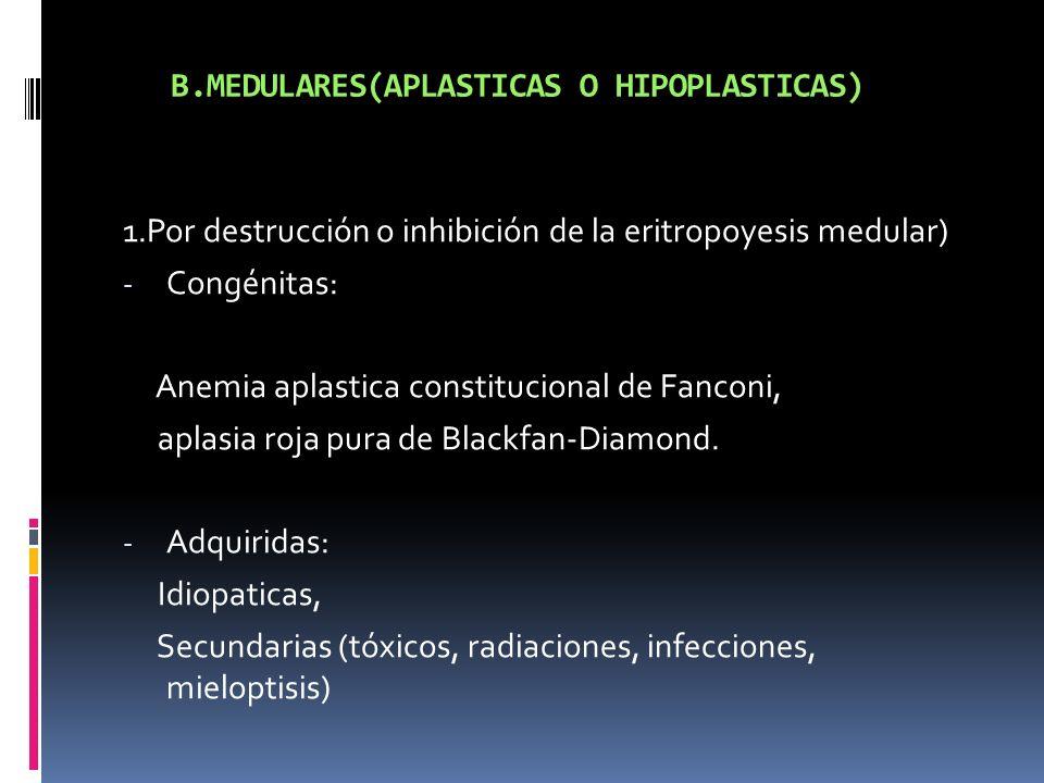 B.MEDULARES(APLASTICAS O HIPOPLASTICAS) 1.Por destrucción o inhibición de la eritropoyesis medular) - Congénitas: Anemia aplastica constitucional de F