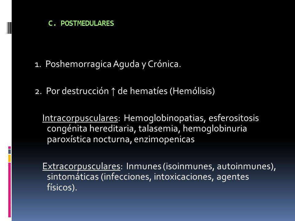C. POSTMEDULARES 1. Poshemorragica Aguda y Crónica. 2. Por destrucción de hematíes (Hemólisis) Intracorpusculares: Hemoglobinopatias, esferositosis co