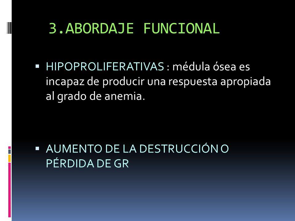 3.ABORDAJE FUNCIONAL HIPOPROLIFERATIVAS : médula ósea es incapaz de producir una respuesta apropiada al grado de anemia. AUMENTO DE LA DESTRUCCIÓN O P
