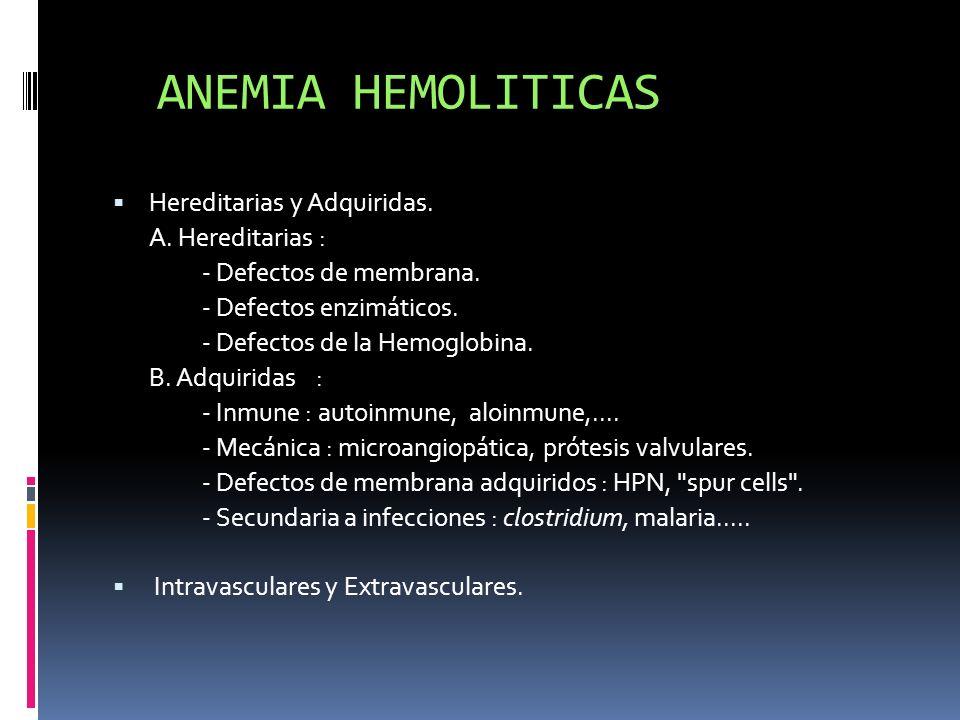 ANEMIA HEMOLITICAS Hereditarias y Adquiridas. A. Hereditarias : - Defectos de membrana. - Defectos enzimáticos. - Defectos de la Hemoglobina. B. Adqui