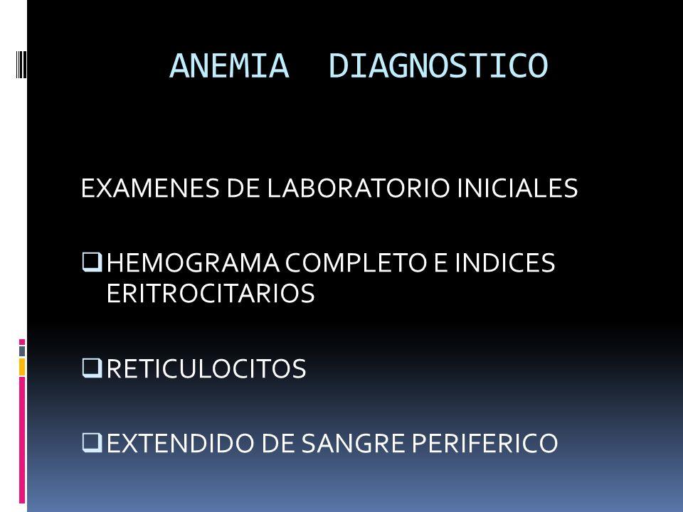 ANEMIA DIAGNOSTICO EXAMENES DE LABORATORIO INICIALES HEMOGRAMA COMPLETO E INDICES ERITROCITARIOS RETICULOCITOS EXTENDIDO DE SANGRE PERIFERICO