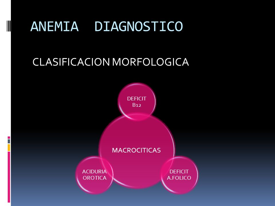 ANEMIA DIAGNOSTICO CLASIFICACION MORFOLOGICA MACROCITICAS DEFICIT B12 DEFICIT A.FOLICO ACIDURIA OROTICA