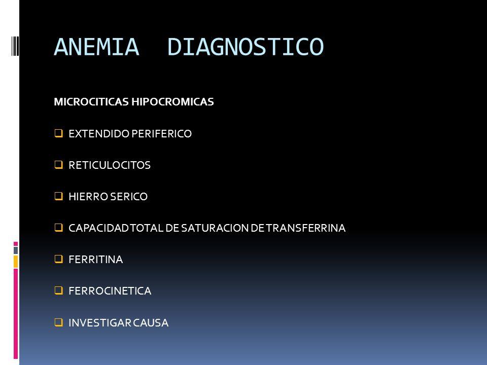 ANEMIA DIAGNOSTICO MICROCITICAS HIPOCROMICAS EXTENDIDO PERIFERICO RETICULOCITOS HIERRO SERICO CAPACIDAD TOTAL DE SATURACION DE TRANSFERRINA FERRITINA
