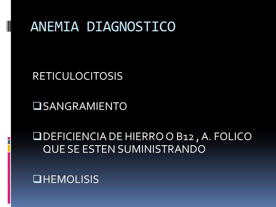 ANEMIA DIAGNOSTICO RETICULOCITOSIS SANGRAMIENTO DEFICIENCIA DE HIERRO O B12, A. FOLICO QUE SE ESTEN SUMINISTRANDO HEMOLISIS