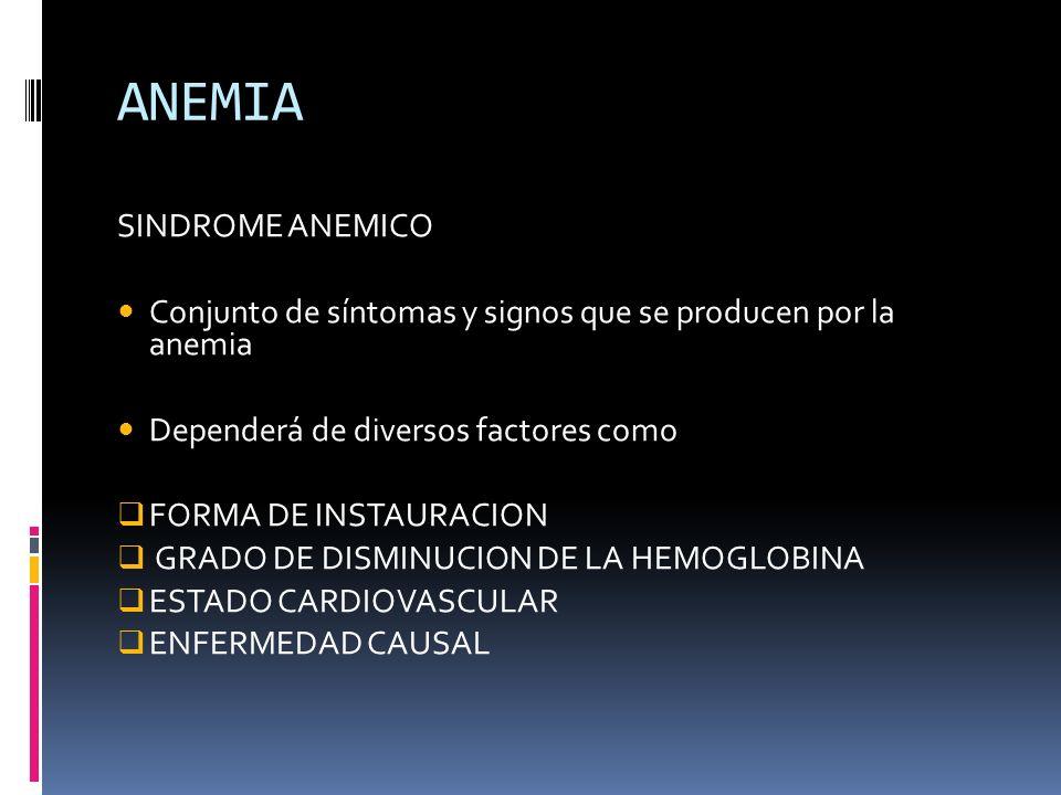 ANEMIA SINDROME ANEMICO Conjunto de síntomas y signos que se producen por la anemia Dependerá de diversos factores como FORMA DE INSTAURACION GRADO DE