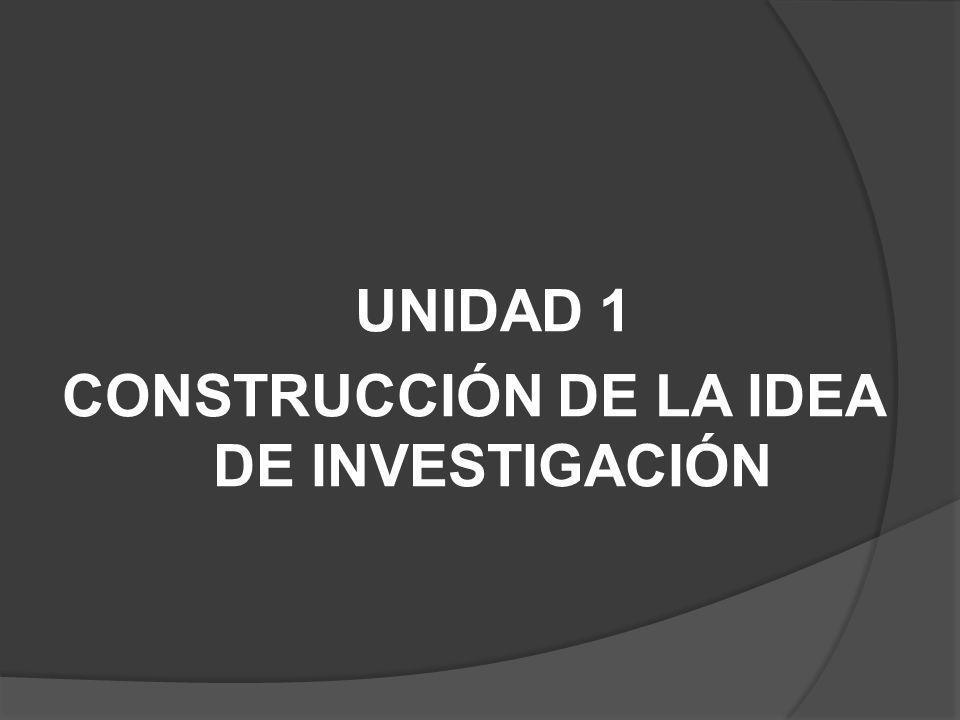 UNIDAD 1 CONSTRUCCIÓN DE LA IDEA DE INVESTIGACIÓN