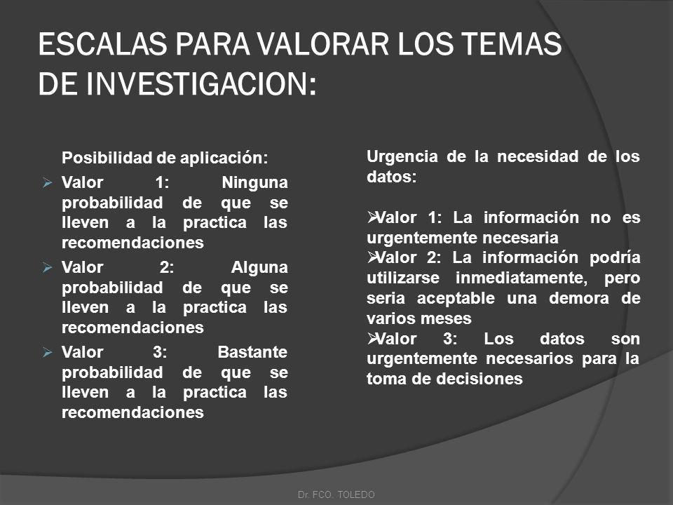 ESCALAS PARA VALORAR LOS TEMAS DE INVESTIGACION: Posibilidad de aplicación: Valor 1: Ninguna probabilidad de que se lleven a la practica las recomendaciones Valor 2: Alguna probabilidad de que se lleven a la practica las recomendaciones Valor 3: Bastante probabilidad de que se lleven a la practica las recomendaciones Urgencia de la necesidad de los datos: Valor 1: La información no es urgentemente necesaria Valor 2: La información podría utilizarse inmediatamente, pero seria aceptable una demora de varios meses Valor 3: Los datos son urgentemente necesarios para la toma de decisiones Dr.