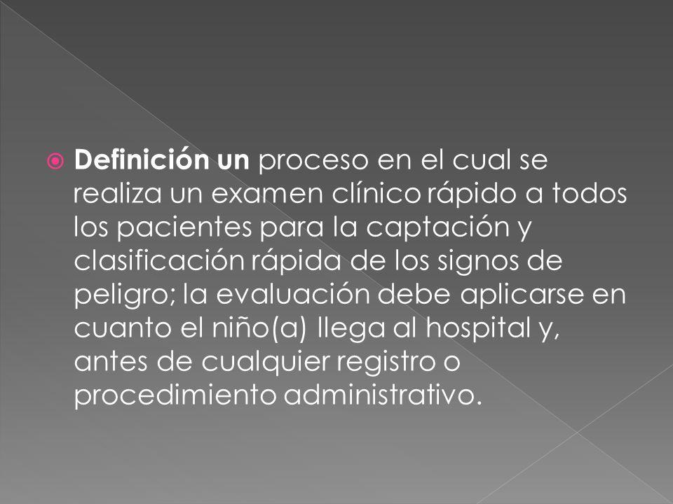 Definición un proceso en el cual se realiza un examen clínico rápido a todos los pacientes para la captación y clasificación rápida de los signos de p